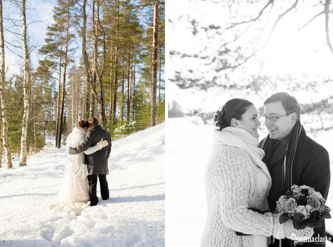 A bride and groom share a smile and an embrace in the snow before their wedding