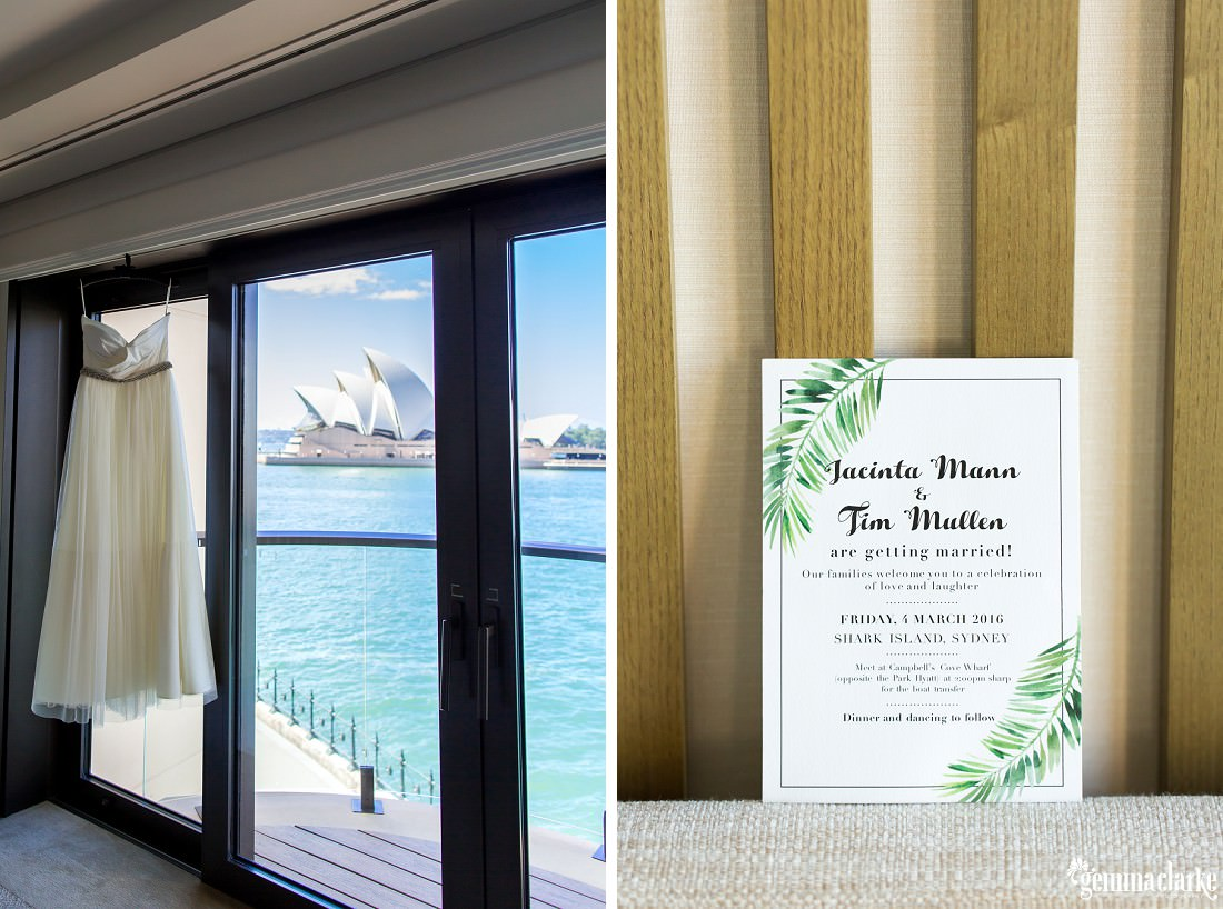 A white bridal gown hanging in a window with the Sydney Opera House across the water in the background, and a wedding invitation against a wall.