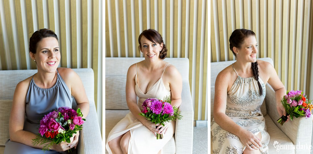 A collage of three bridesmaids sitting on a couch, smiling and holding a bouquet of flowers