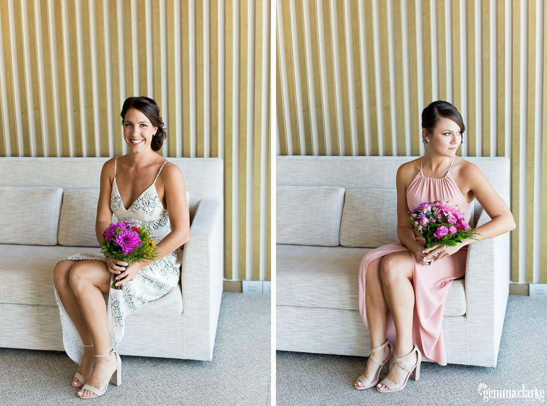 Two images of bridesmaids sitting on a couch holding a bouquet of flowers