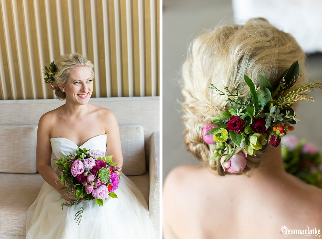 An image of a bride sitting on a couch, smiling and holding a bouquet of flowers and another image of the bride's floral hairpiece