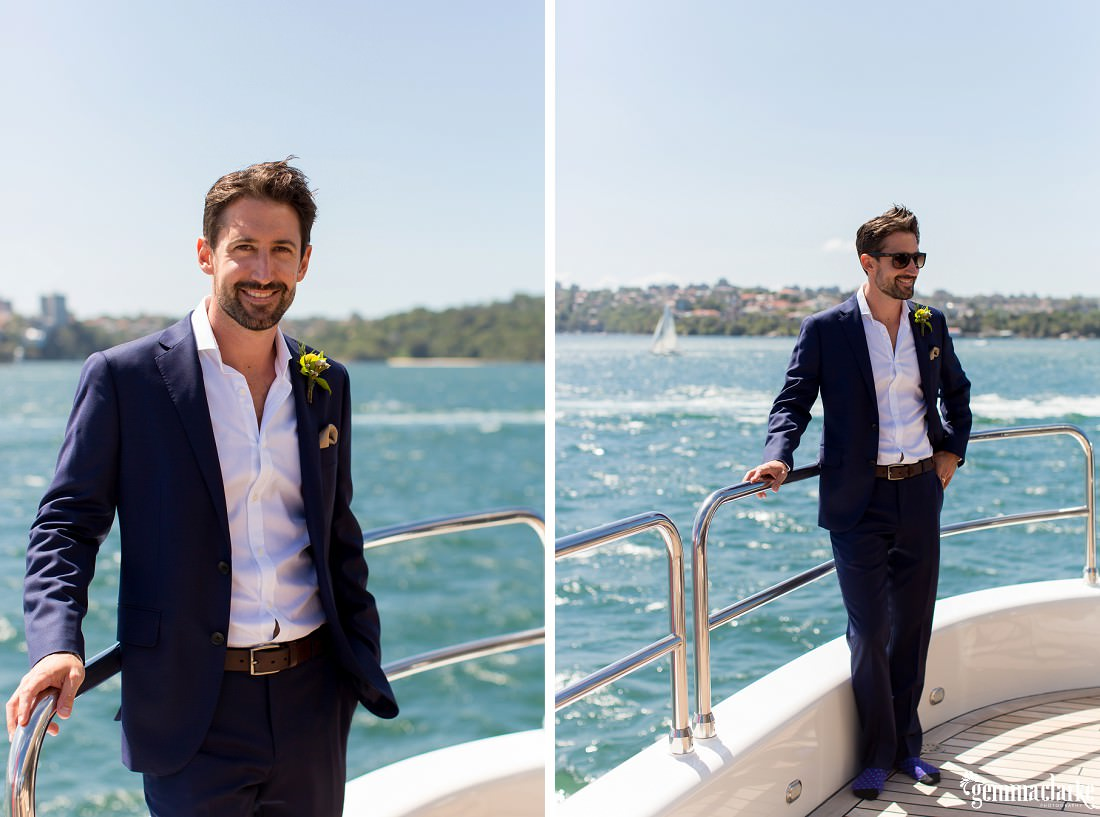 Two images of a groom standing at the rear of a boat, leaning on a rail and smiling