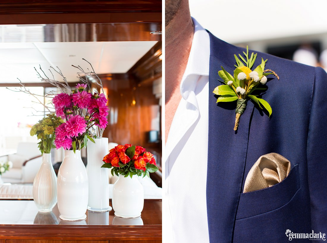 An image of four vases with various coloured flowers and a closeup of a groom's coat showing his handkerchief and buttonhole flower