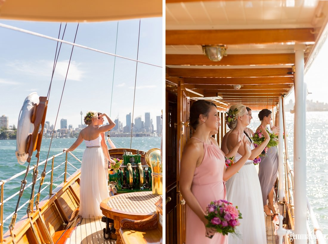 A bride and her bridesmaids aboard a boat looking towards Shark Island and waving