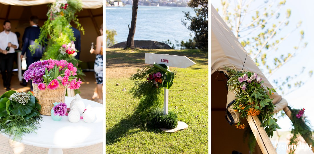 A wedding sign and floral decorations