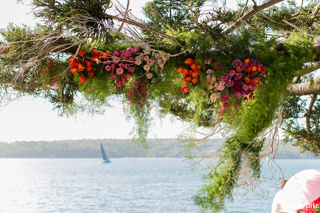 Floral decorations hanging from a tree