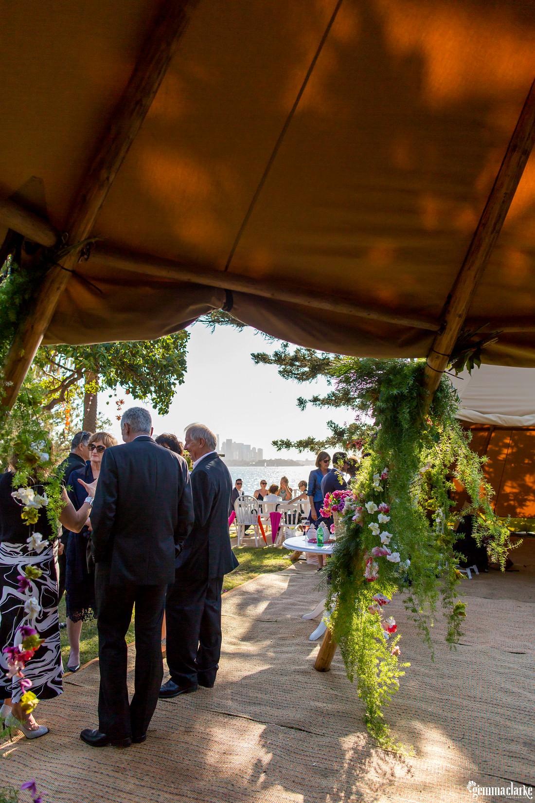 Wedding guests mingling