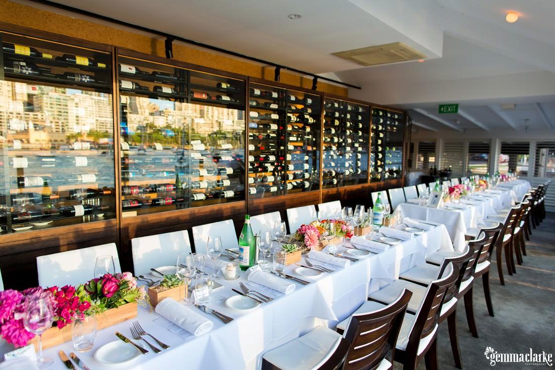 Table settings at a wedding reception at Sails Restaurant