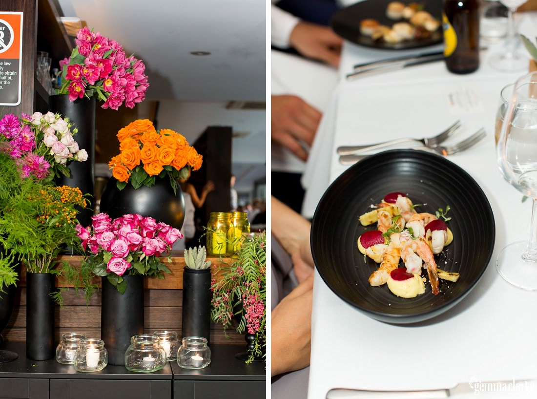Floral decorations and a delicious looking prawn meal