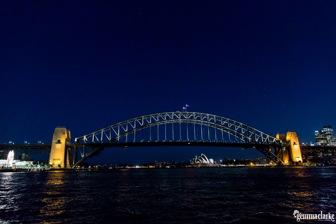 Sydney Harbour Bridge and the Opera House at night