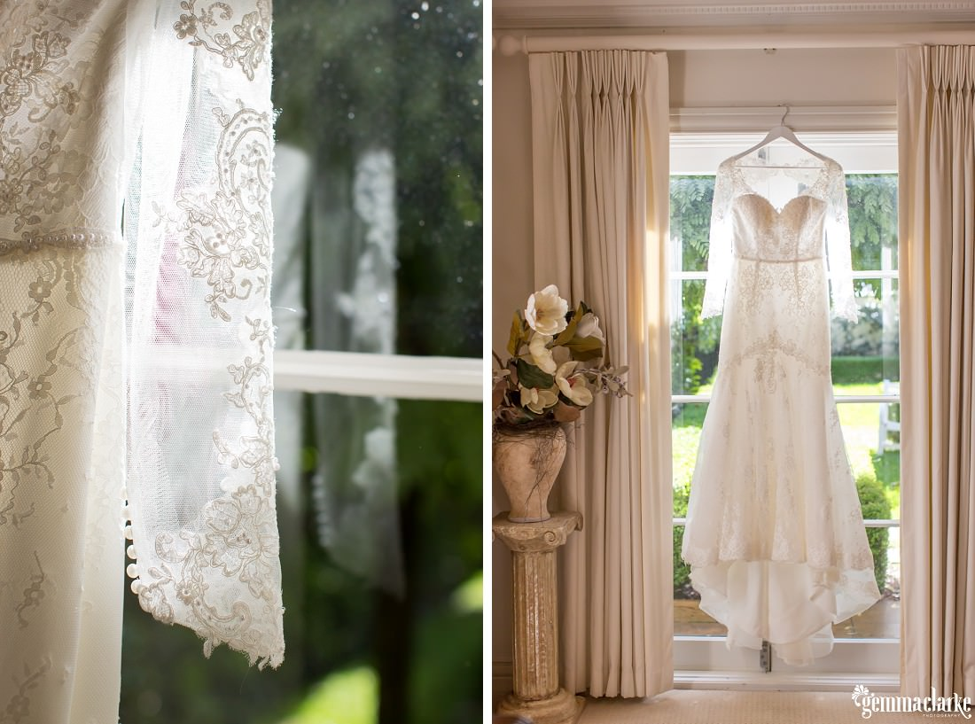 Two images - a white, long sleeved lacy bridal gown and a close-up of the lacy detail