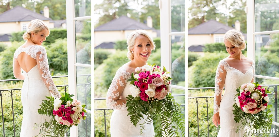 A collage of images of a bride in a lovely lacy white gown smiling and holding a bouquet