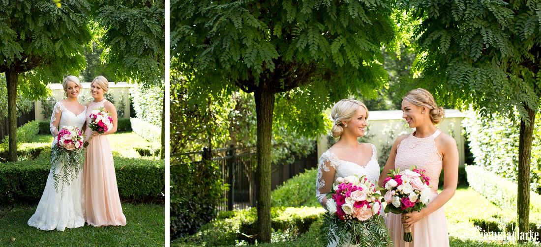 Two images of a bride and a bridesmaid standing together in a garden holding bouquets