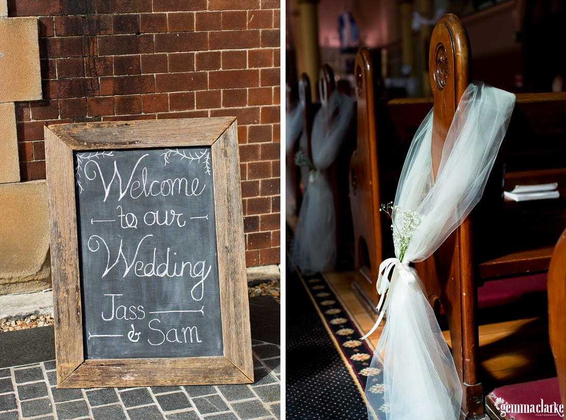 Tulle pew bow and chalkboard sign welcoming people to a wedding