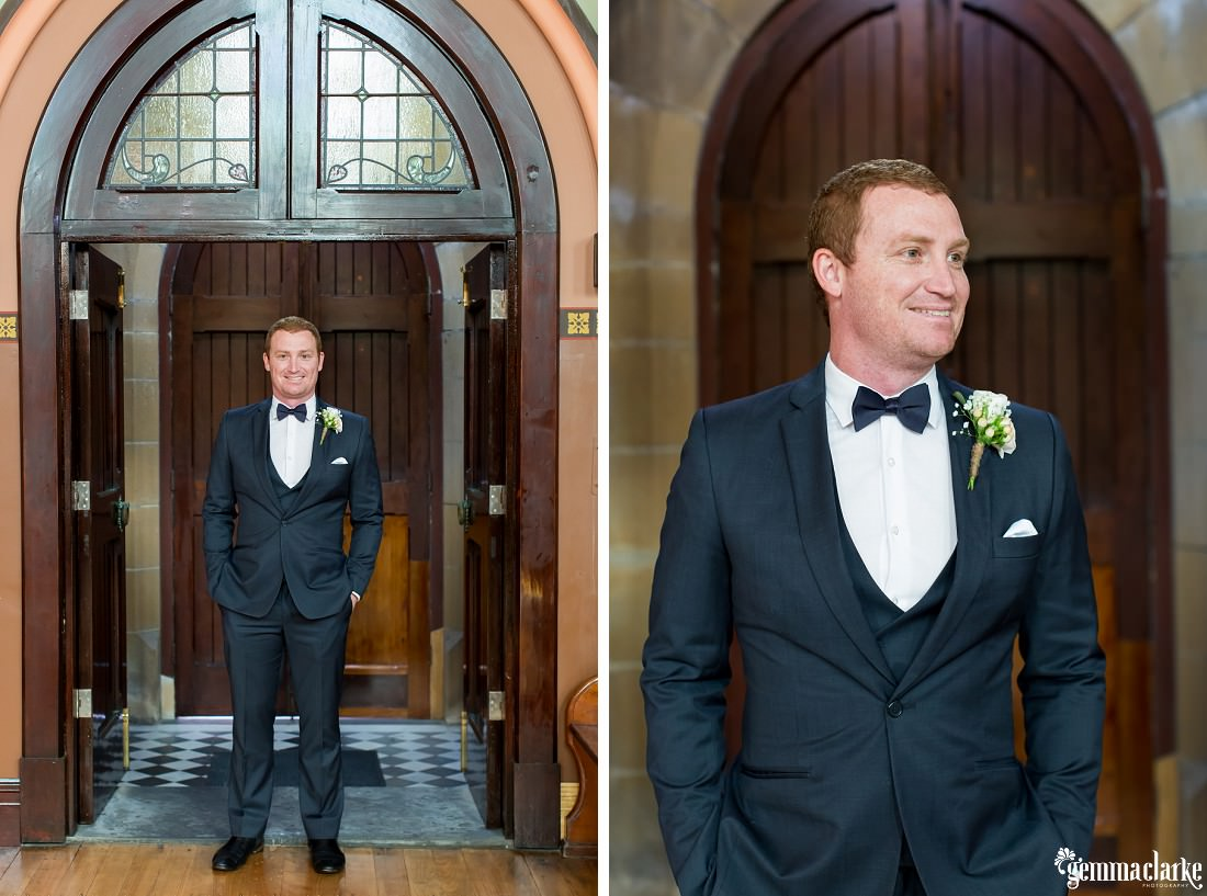 Two images of a groom standing inside a church doorway
