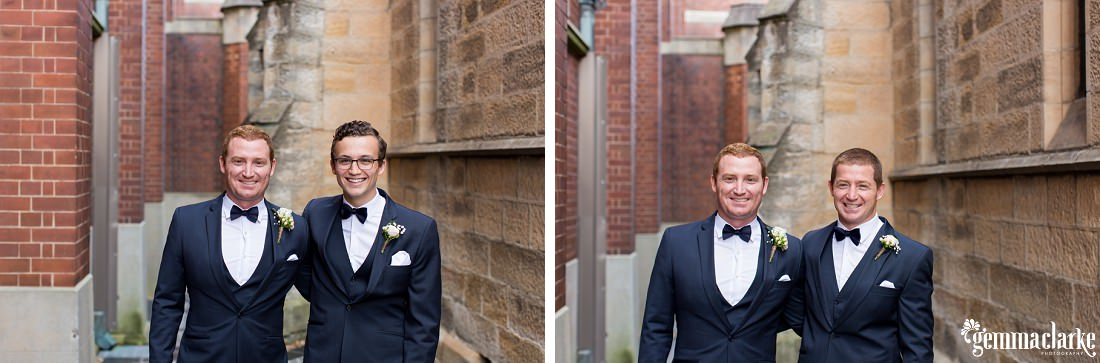 A groom and two groomsmen smiling