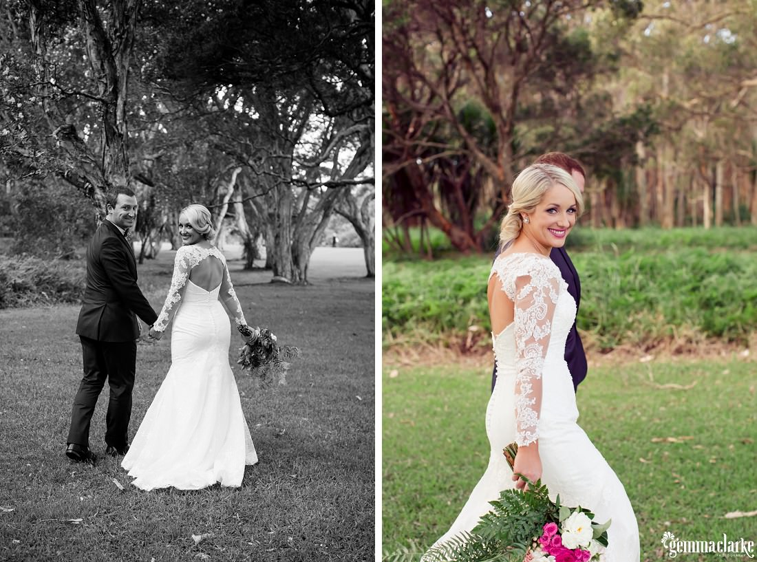 A bride and groom smiling and holding hands - Centennial Park Wedding