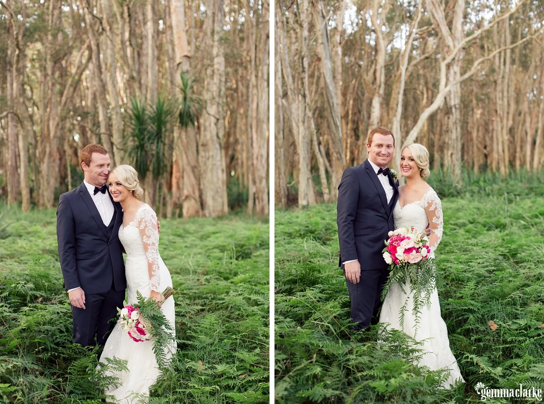 A bride and groom standing together in a forest - Centennial Park Wedding