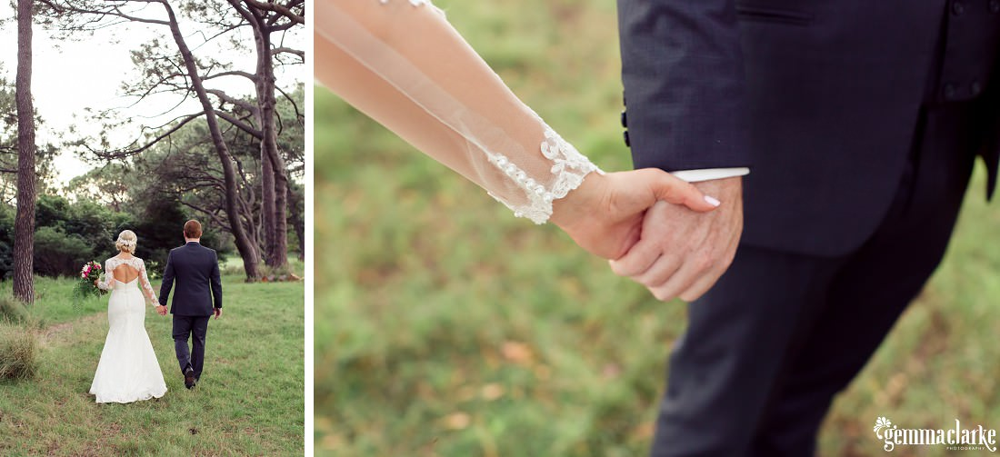 A bride and groom hold hands while walking in a forest - Centennial Park Wedding