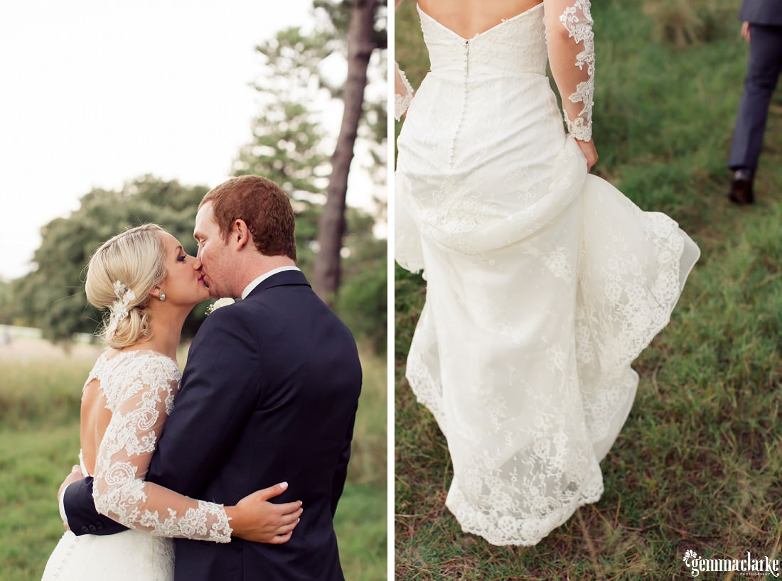 A bride and groom kiss in a forest - Centennial Park Wedding