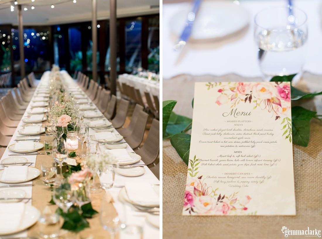 Table settings and a menu at a Centennial Park Wedding