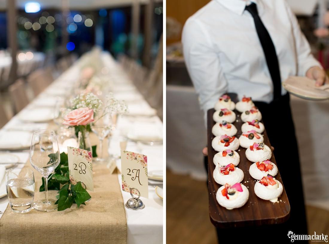 Table settings and canapés at a Centennial Park Wedding