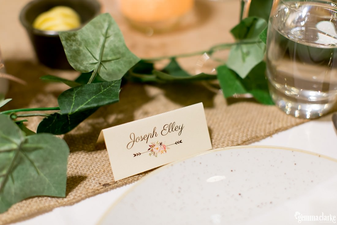 A place card at a wedding reception