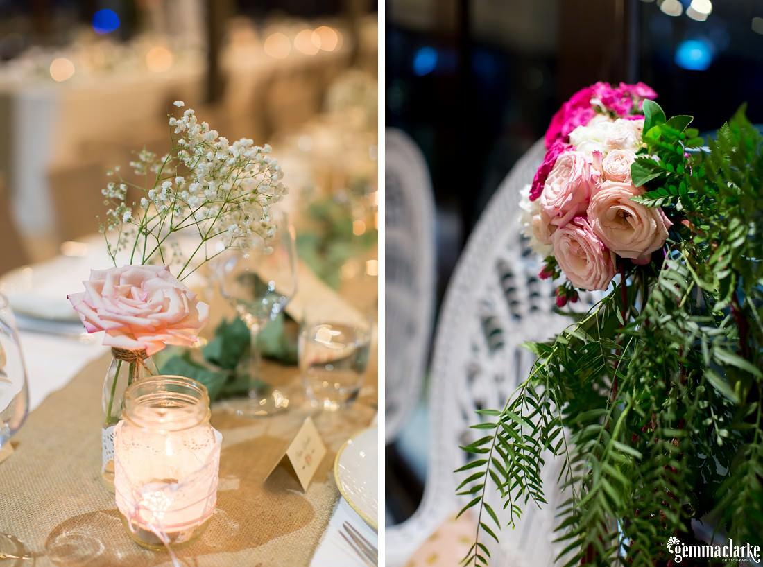 Floral details at a wedding reception