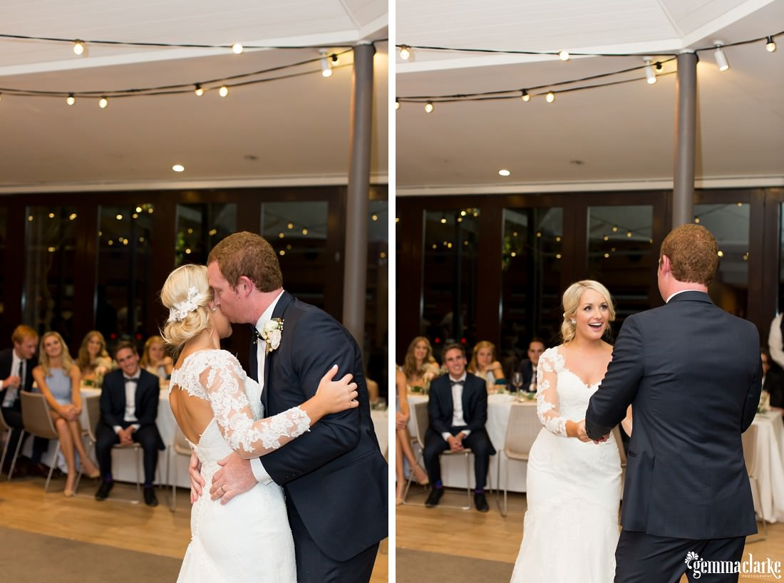 A groom kisses his bride on the cheek as they share their first dance at their Centennial Park Wedding reception