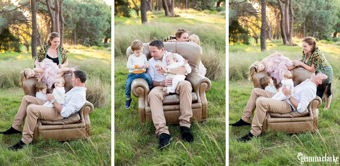 Fun family portraits on a leather armchair amongst long grass and trees