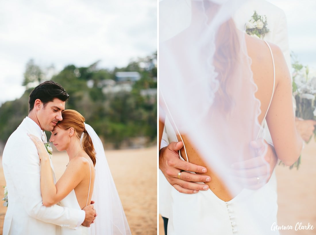 A collage of two images with the couple embracing in both and one with a back shot of the groom's hands around the waist of the bride and the veil covering part of the shot at this Whale Beach Wedding