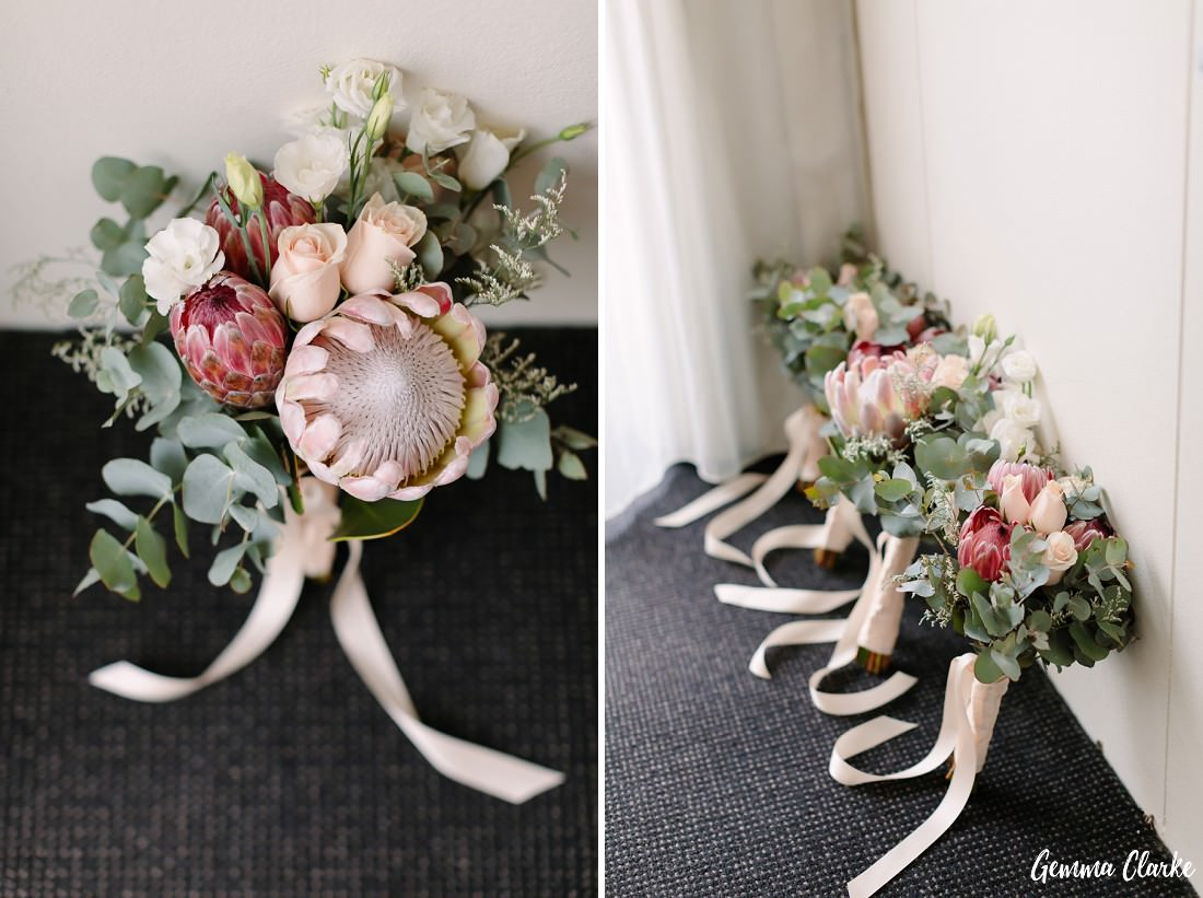 Beautiful pastel coloured native bouquets at this Sydney rainy day wedding