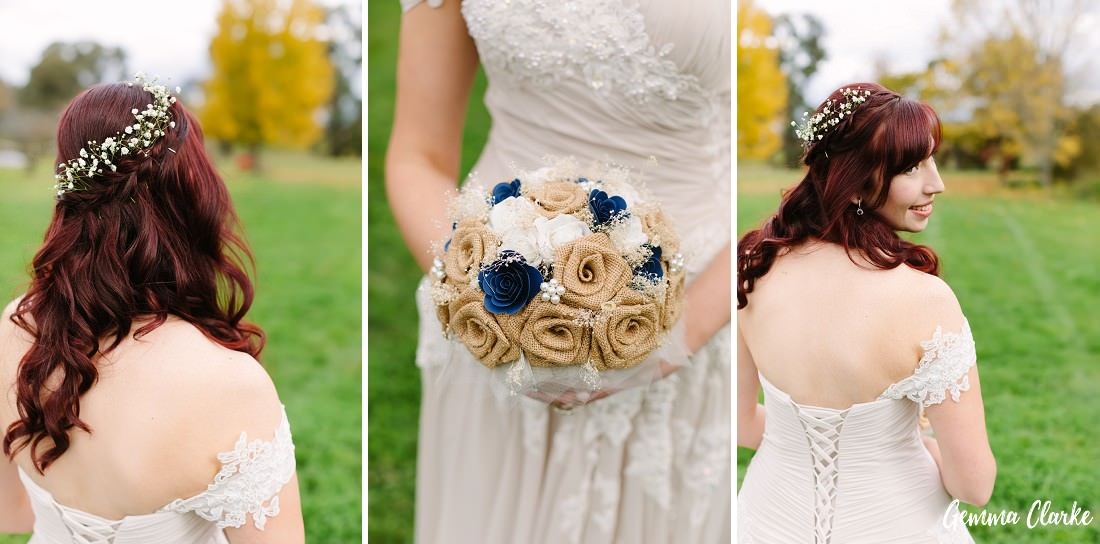 Three bridal portraits of the bouquet, april's beautiful hair and the corset style lacing at the back of the dress at this Autumn Southern Highlands Wedding
