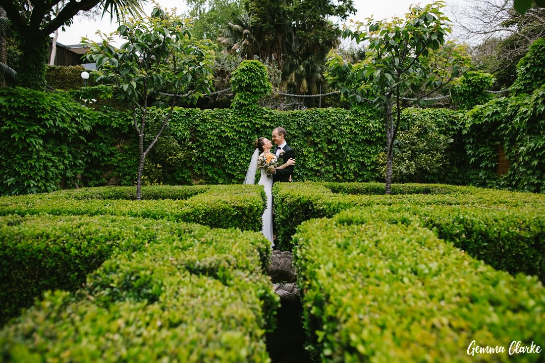 All about the green hedges at McKell Park with the bride and groom almost hidden at this small wedding Sydney