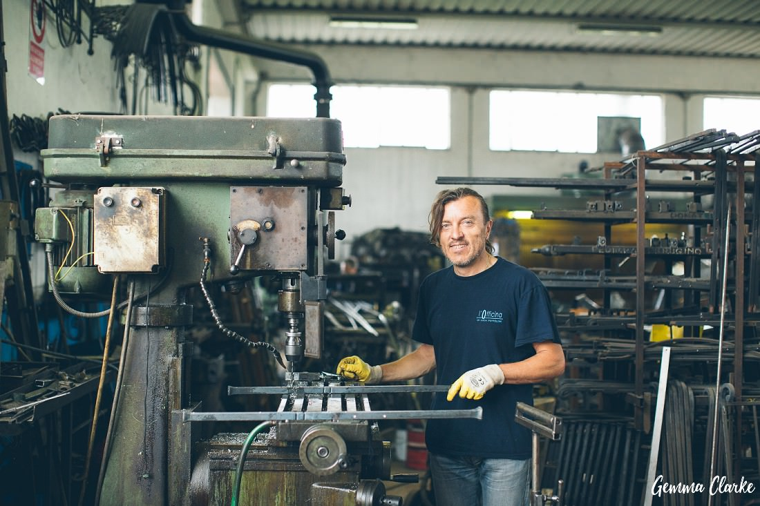 Luca working on a project in his workshop in Italy in these Small Business Lifestyle Portraits