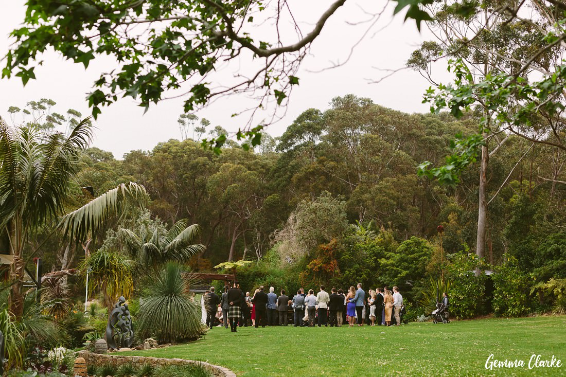 Ceremony view from afar at the bushy backdrop at this Stanwell Tops Wedding