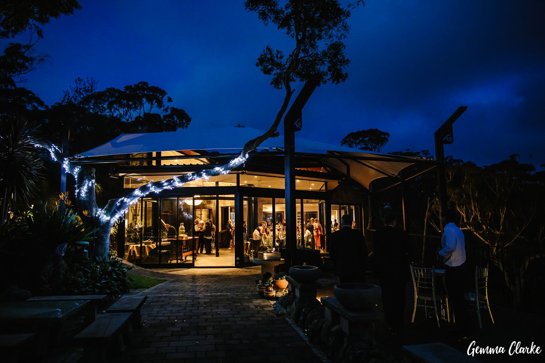 Stanwell Tops Wedding venue at night during 'Blue House and the trees are lit up