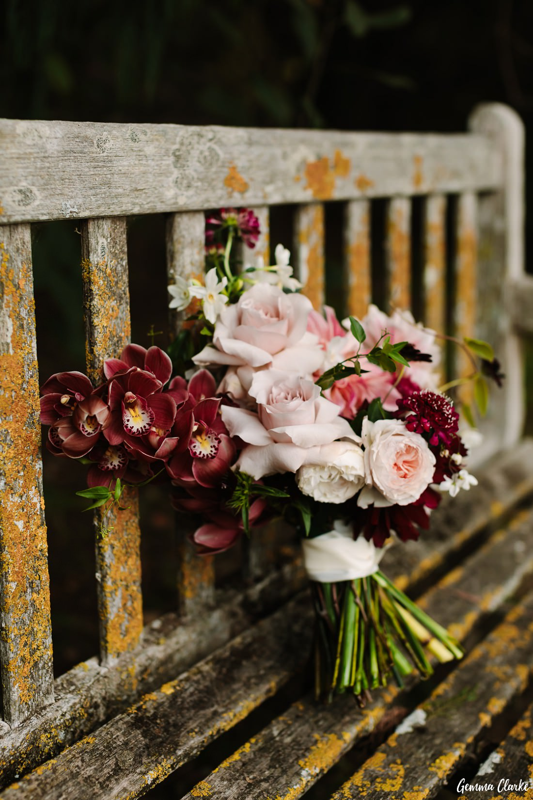 Stunning autumn themed orchid and rose bouquet at this Briars Country Lodge Wedding