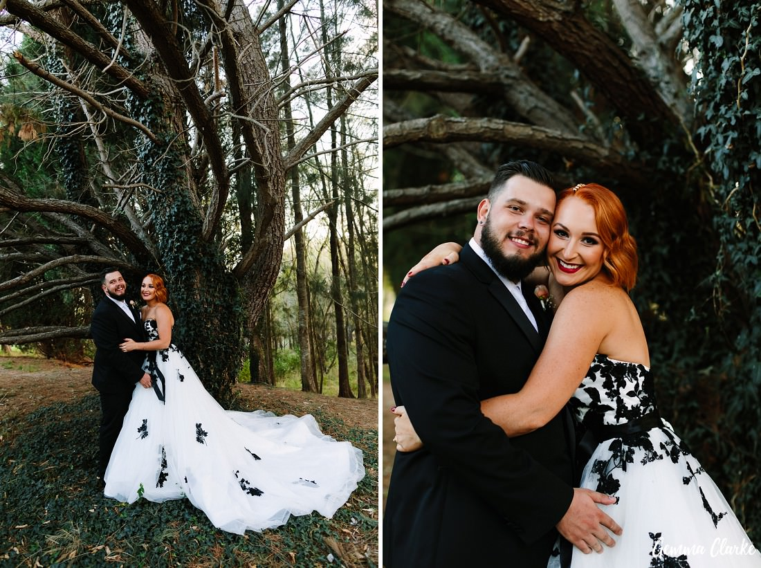 The stunning forest on the other side of the water as the bride and groom pose and laugh at this Briars Country Lodge Wedding