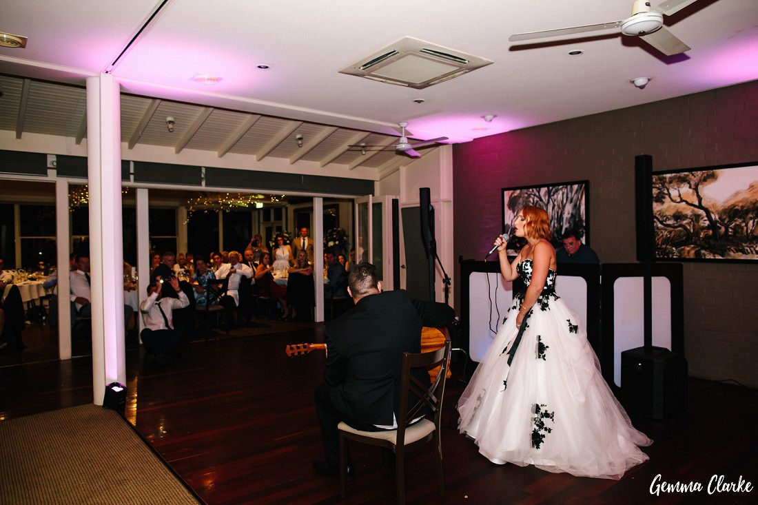 Bride and Groom perform sing/play a song for their guests instead of a first dance at this Briars Country Lodge Wedding