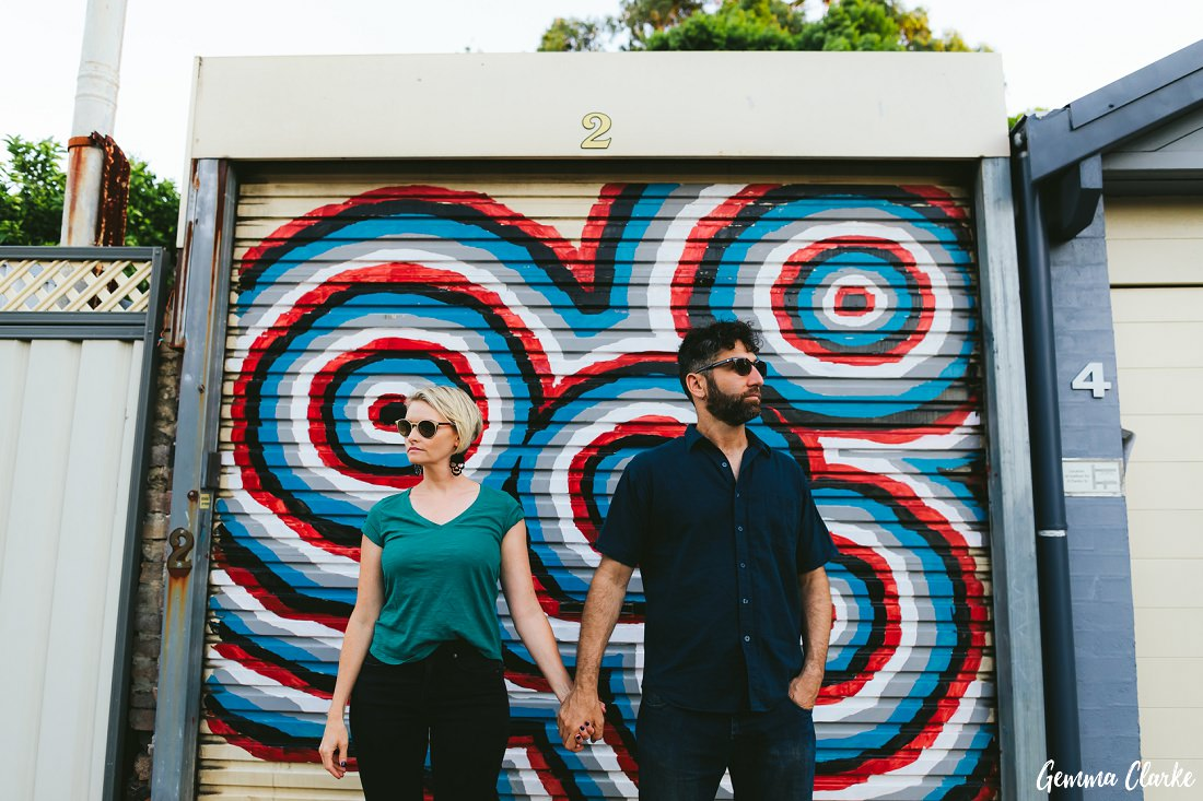 Colourful garages are the best backdrop for photos at this Newtown Couples Portraits