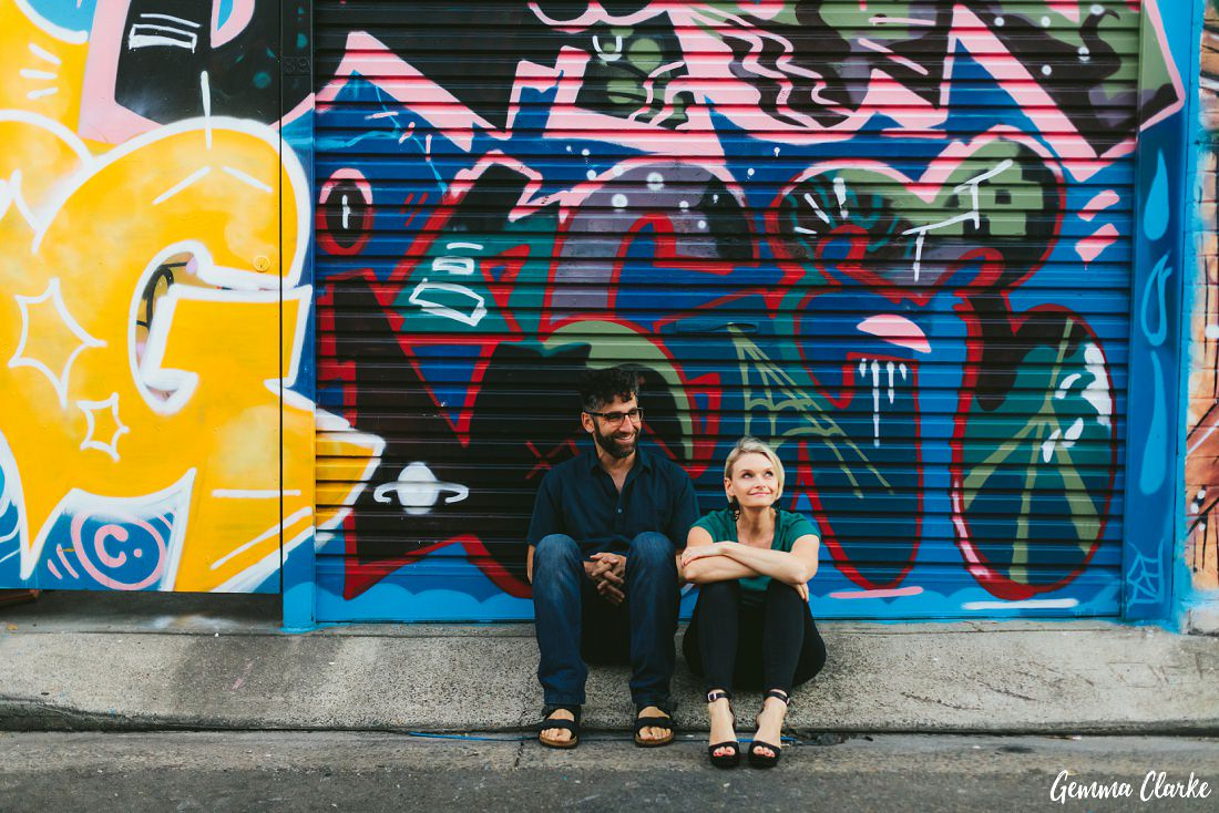 Sitting in a driveway just hanging out at these Newtown Couple Portraits