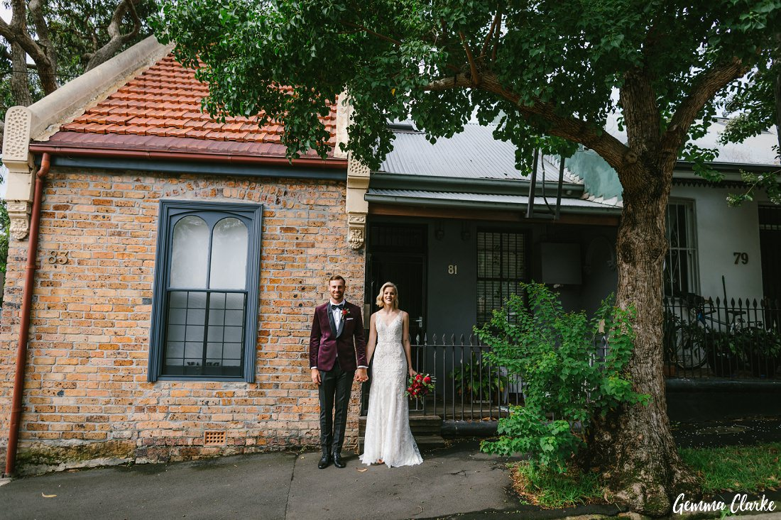 Before the wedding Kate and Matt got ready in Rozelle and then had some fun photos outside their AirBnb at this Cafe Morso Wedding
