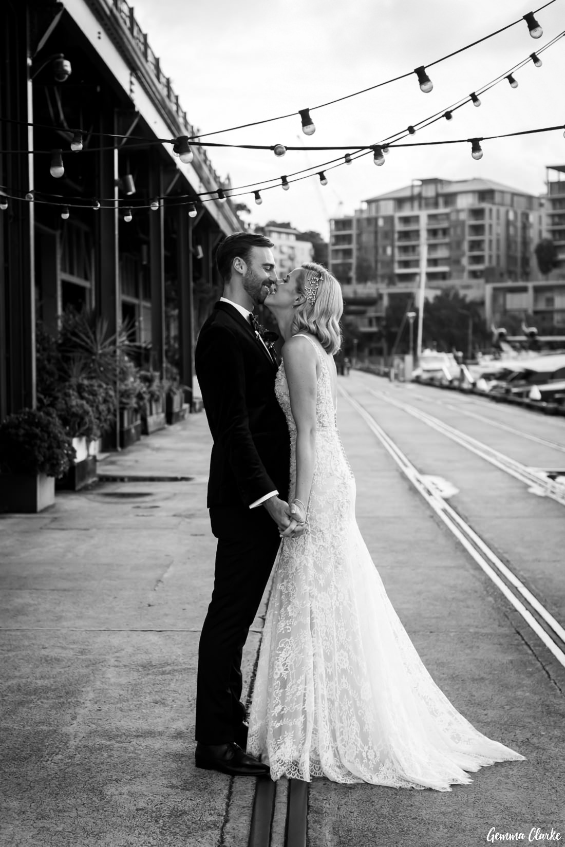 Kate and Matt decided to have some photos captured before the ceremony on the wharf at this Cafe Morso Wedding