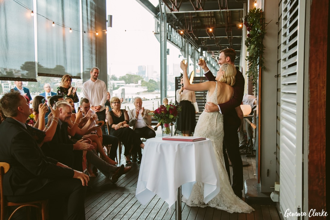 Kate and Matt celebrate their status as husband and wife with their guests at this Cafe Morso Wedding