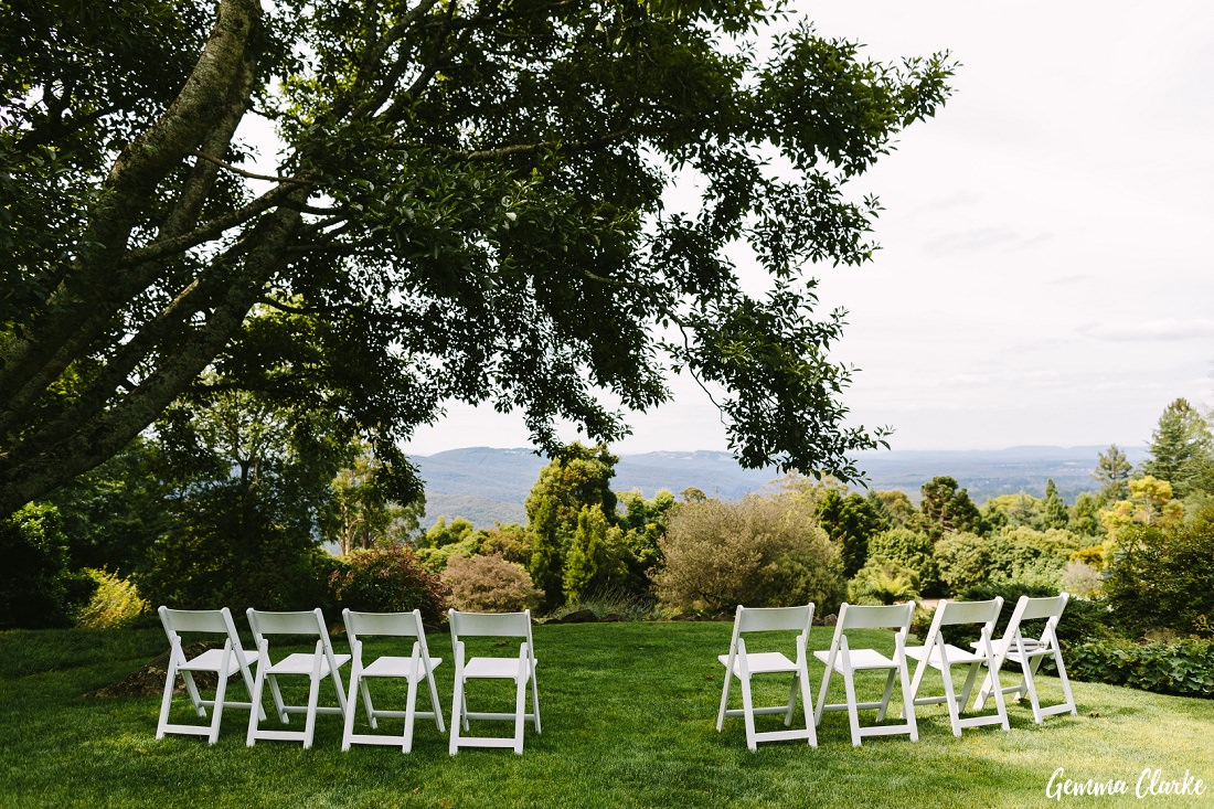 Ceremony setup was simple with 8 white chairs but perfect at this Mount Tomah Botanic Gardens Wedding