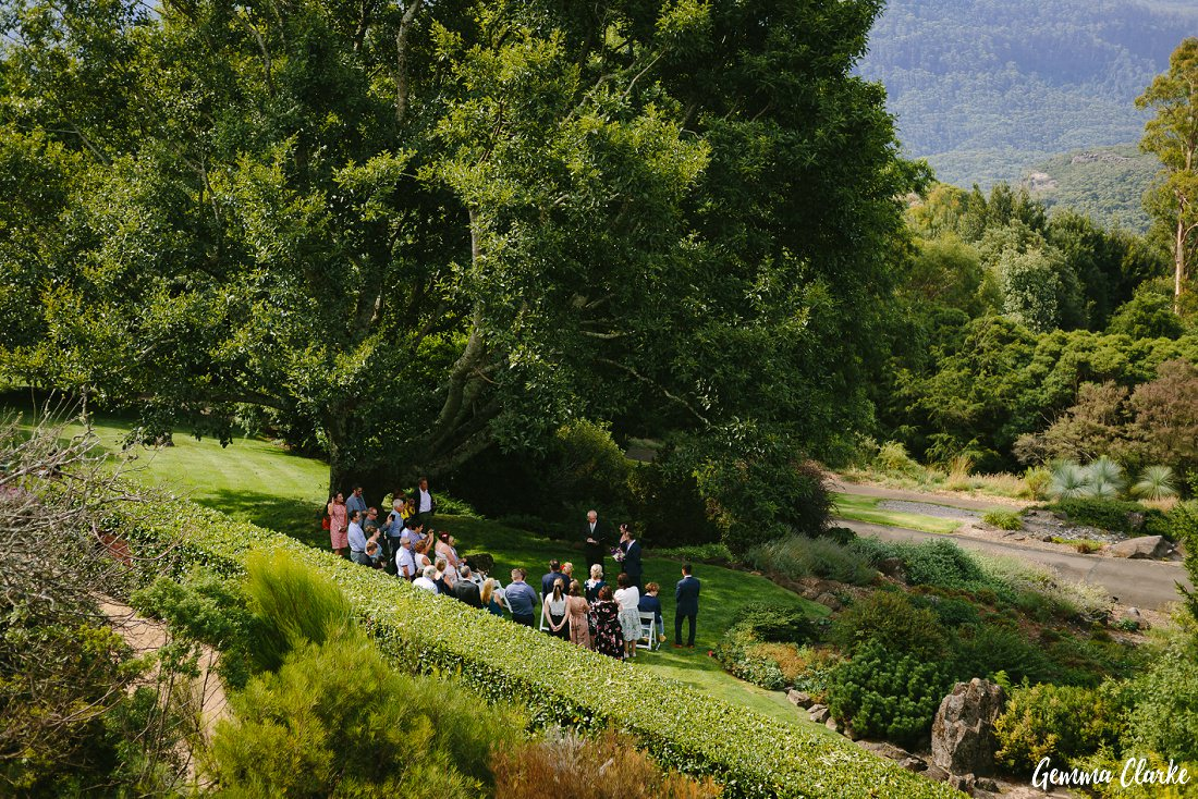 A view from above of the gorgeous Wedding Ceremony of Cherie and Jock at their Mount Tomah Botanic Gardens Wedding