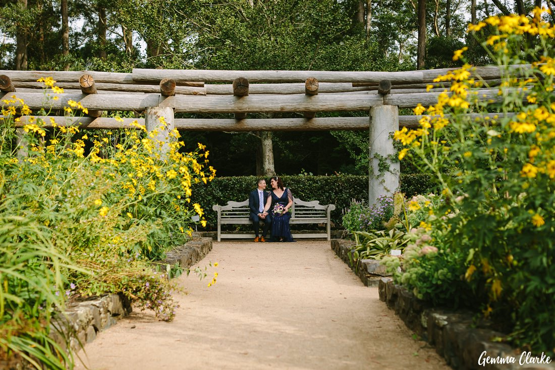 Lots of beautiful yellow colourful flowers at this Mount Tomah Botanic Gardens Wedding