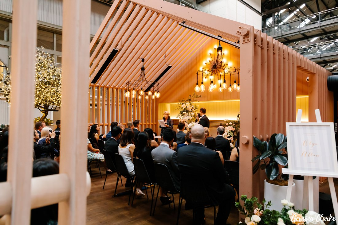 The ceremony takes place at this Ovolo Hotel Wedding in their gorgeous breakfast area!