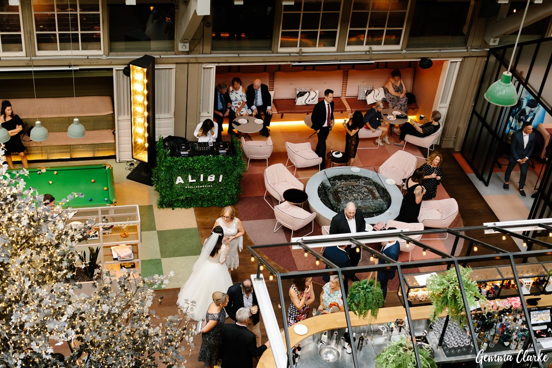 A bird's eye view of some of the spaces available for guests to mingle at this Ovolo Hotel Wedding